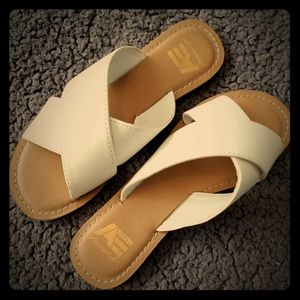 AE White Leather Slides
